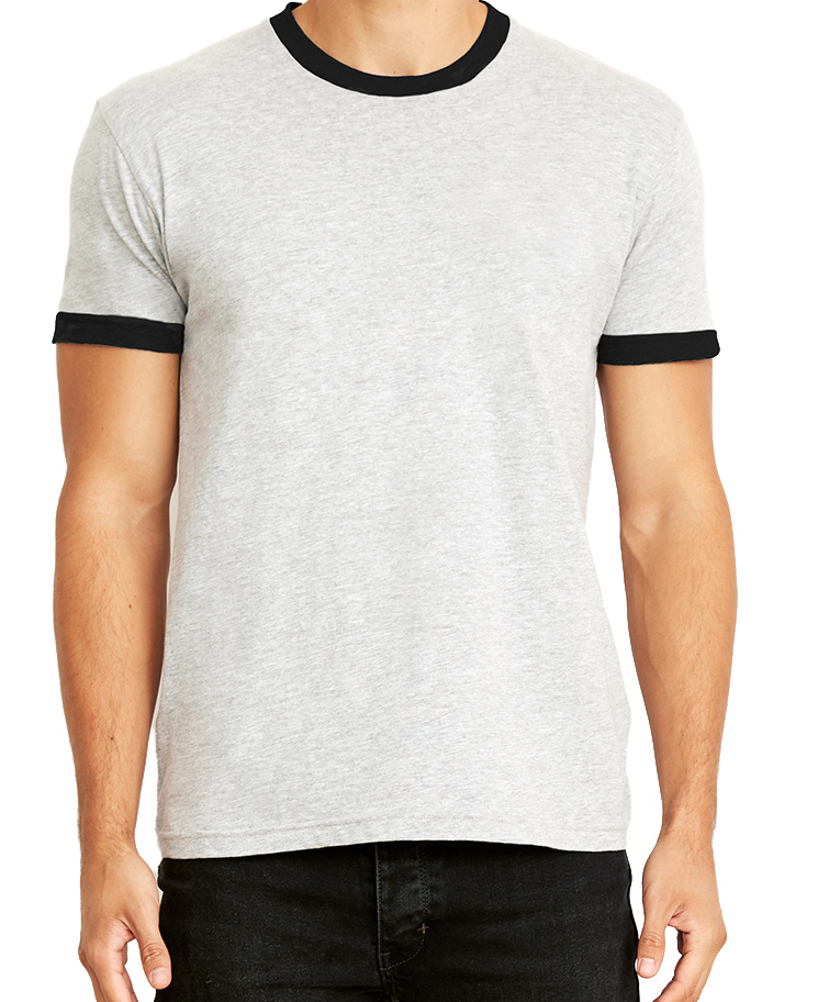 Unisex/Men's cotton ringer t-shirt, (100% cotton, slimmer fit, $$).