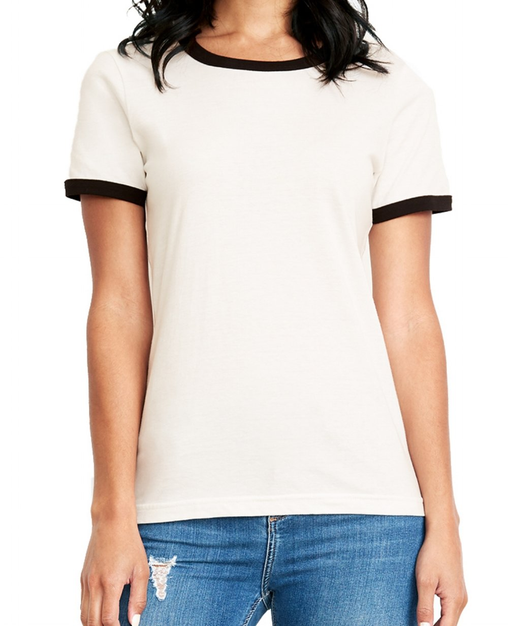 Women's cotton ringer t-shirt (100% cotton, slimmer fit, $$).