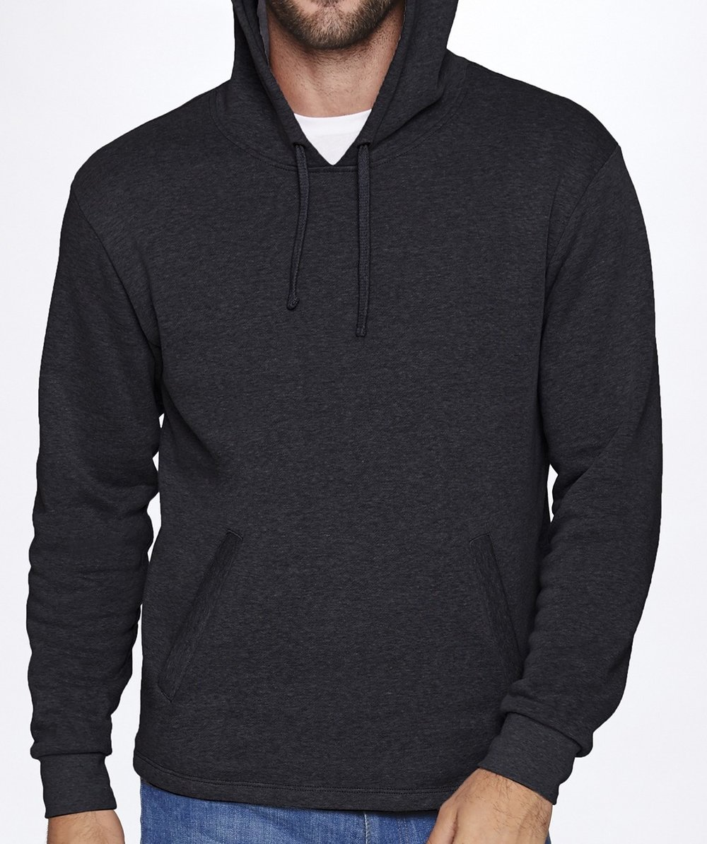Unisex heathered fleece pullover hoodie (cotton poly blend, longer length, thick and soft, $$$)