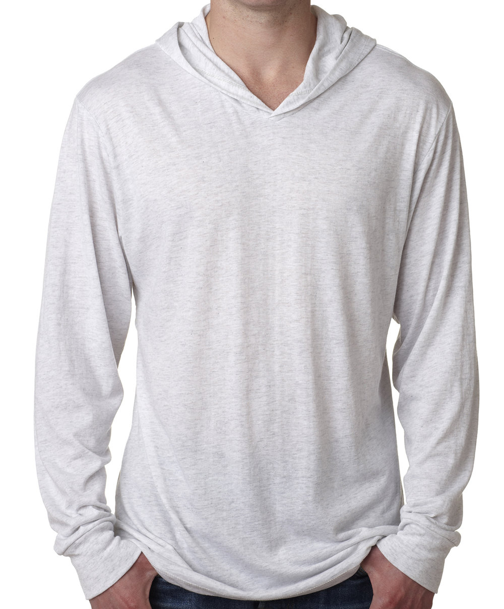 Unisex triblend long sleeve hoodie (cotton, polyester, rayon blend, longer length, super soft feel, $$)