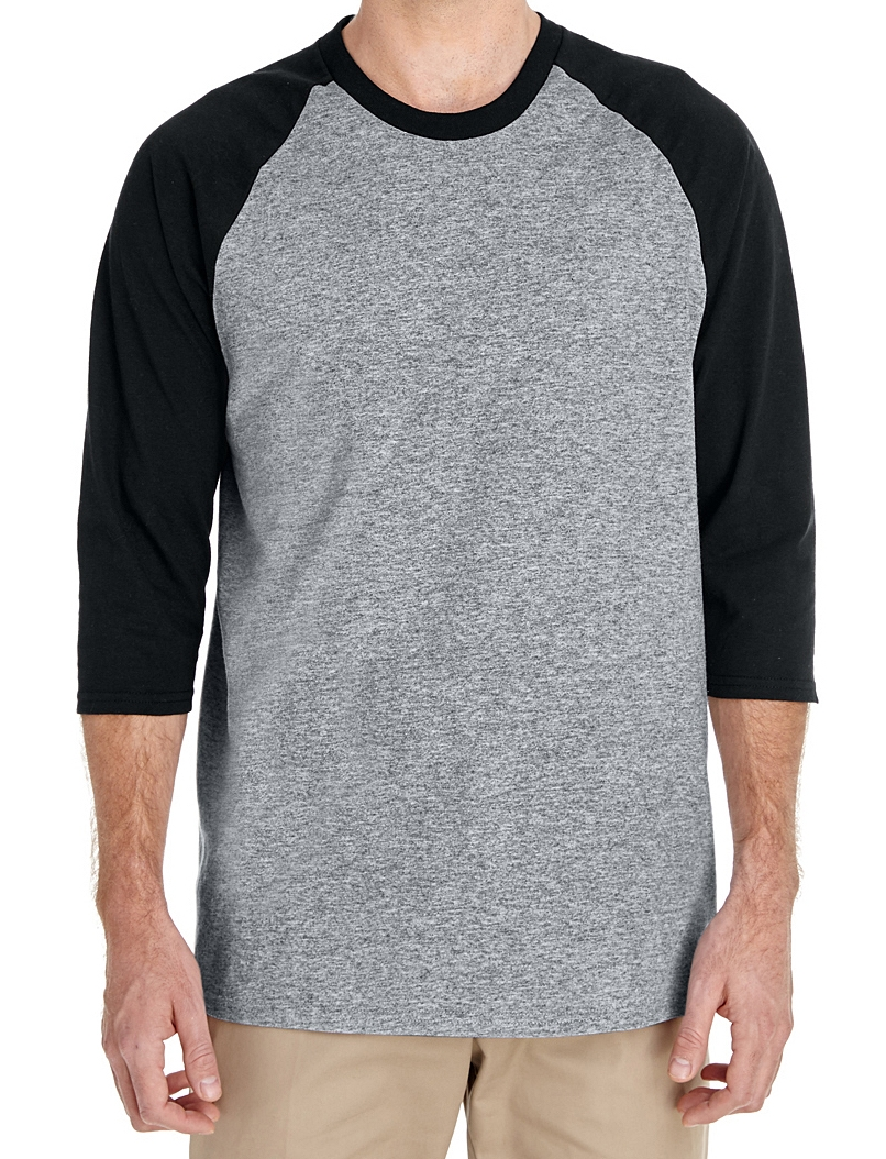 Adult 3/4 sleeve heavy cotton raglan shirt (100% cotton, wider fit, $).