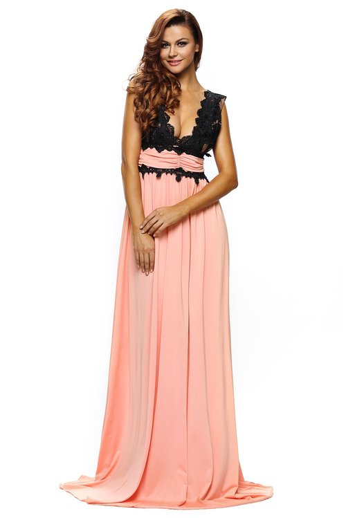 Peach V Neck Lace Gown — Jeneration Apparel
