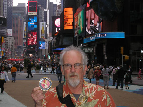 T, is our earliest National Waffle Association supporter and all around swell guy. He took us along on his recent trip to the Big Apple and then to Massachusetts. Shown here in bustling Times Square.