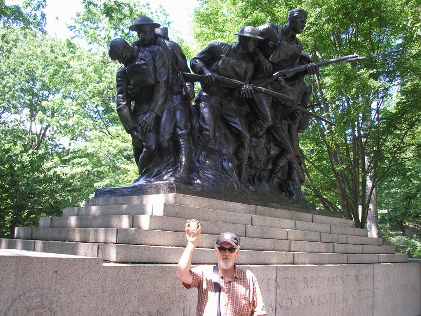 T in front of War Memorial.