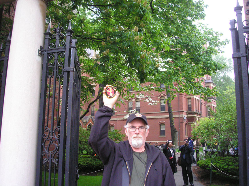 T in front of an institute of higher learning. Cambridge, Massachusetts.