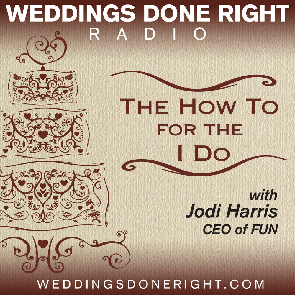 Listen to Jodi Harris interview the wedding industry experts on Weddings Done Right Radio - The How To For the I Do.