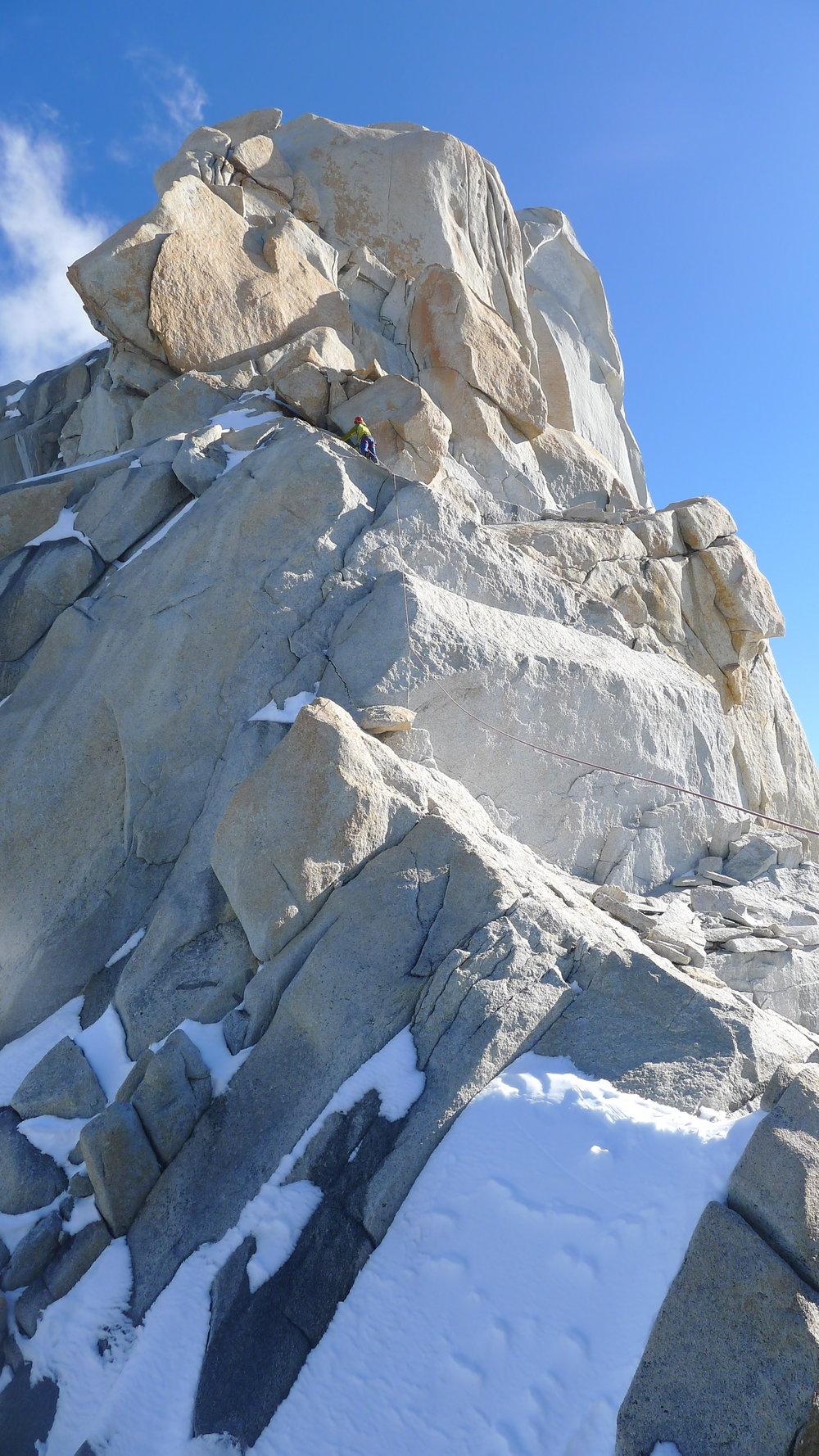 Climbing the last few pitches to the summit of Guillaumet. Photo: Tony Stone