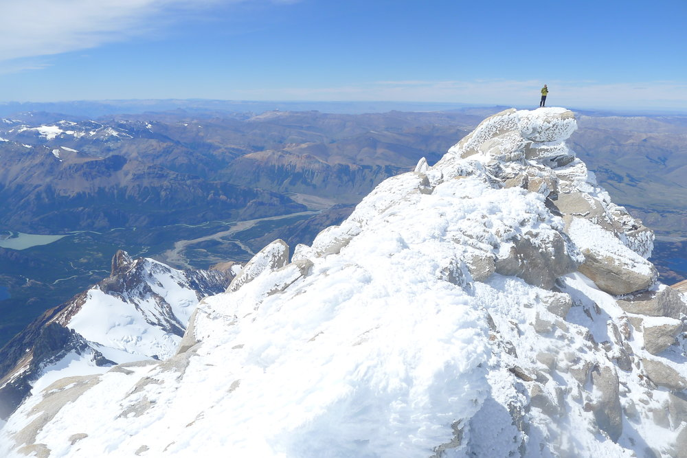on the summit of fitzroy. photo: tony stone