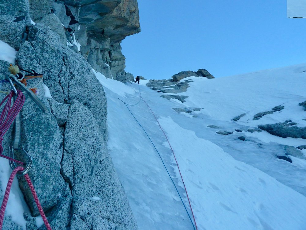 after a fresh bivi, two pitches up the dru couloir took us to the breech des drus