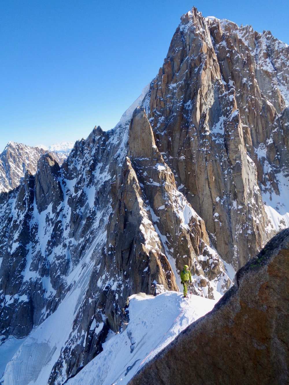 summit ridge of Le grand dru. chamonix. Photo: kim ladiges