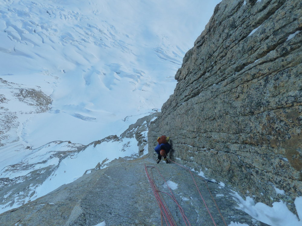 walker spur, winter ascent, grandes jorasses, mont blanc massif. Chamonix.