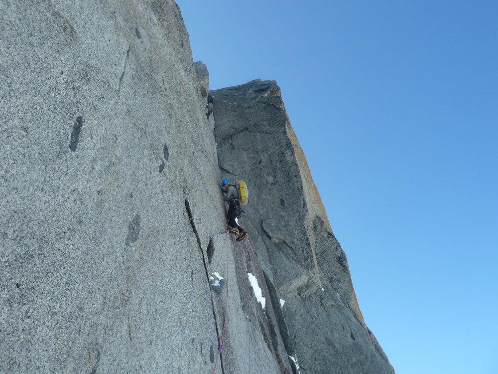 pierre allain/classic route, le dru, mont blanc massif. chamonix.