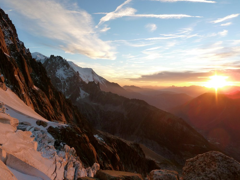 sunset from the mont blanc massif. chamonix.