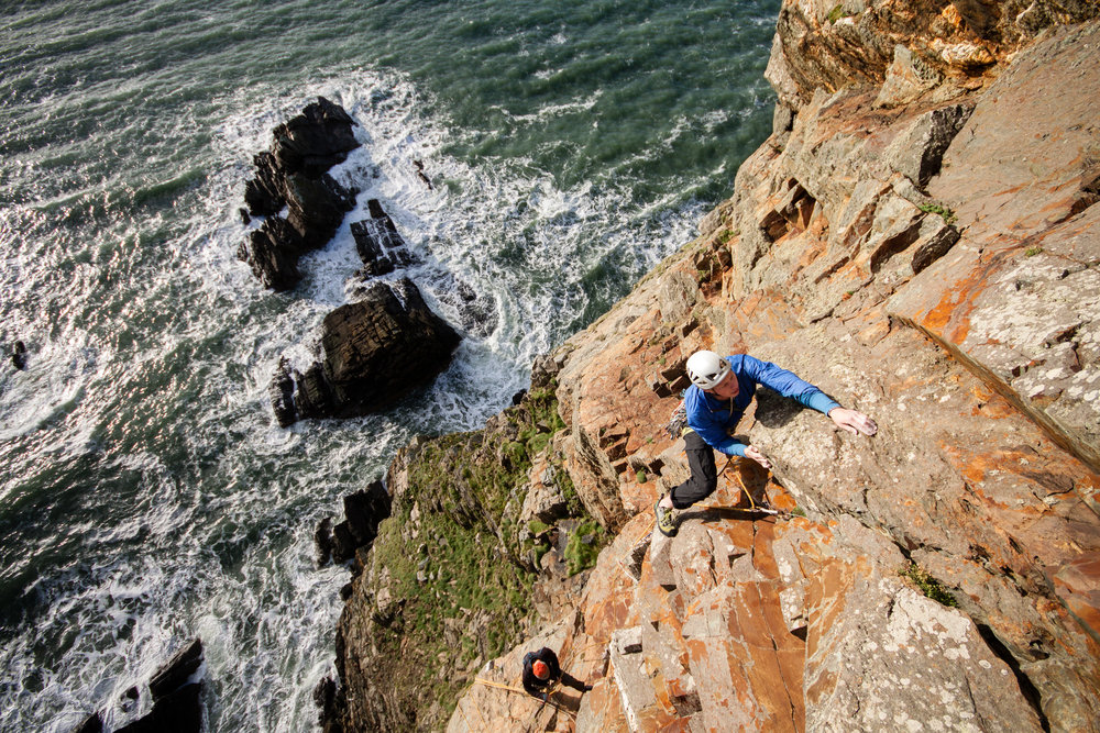 book of ages (e5 6b), yellow walls, gogarth. north wales. photo: dan lane