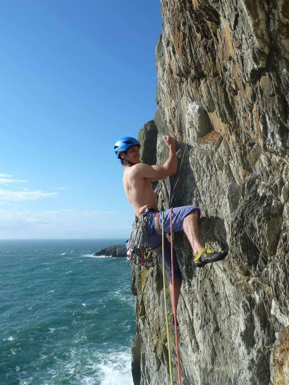 henry francis on positron (e5 6a), gogarth. north wales