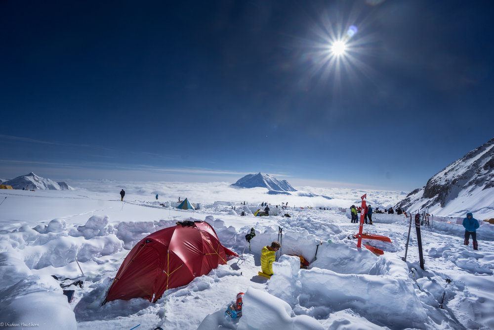 life at 14, 000 ft camp on denali. photo: uisdean hawthorn