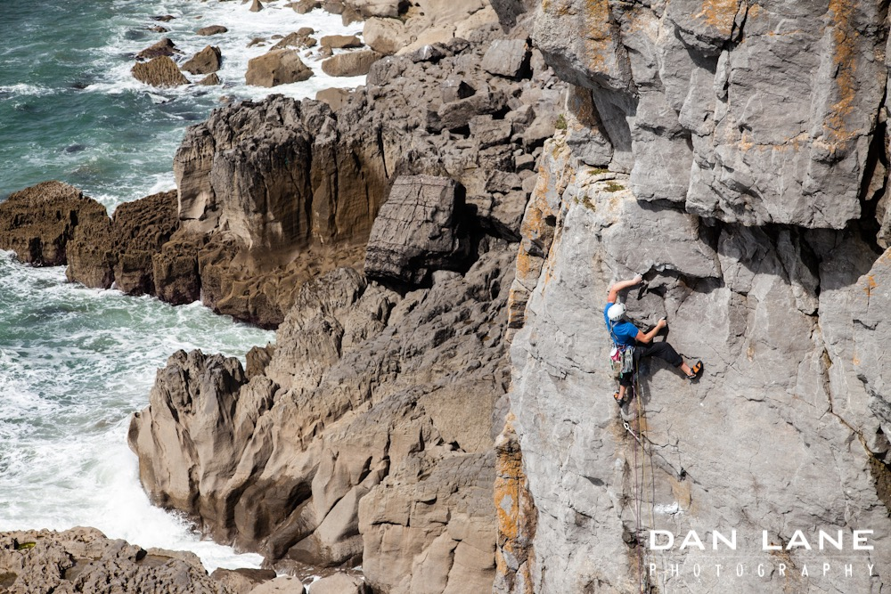 A place made for keying in bomber wires: Pembroke. Get Some In (E5 6a). Photo: Dan Lane