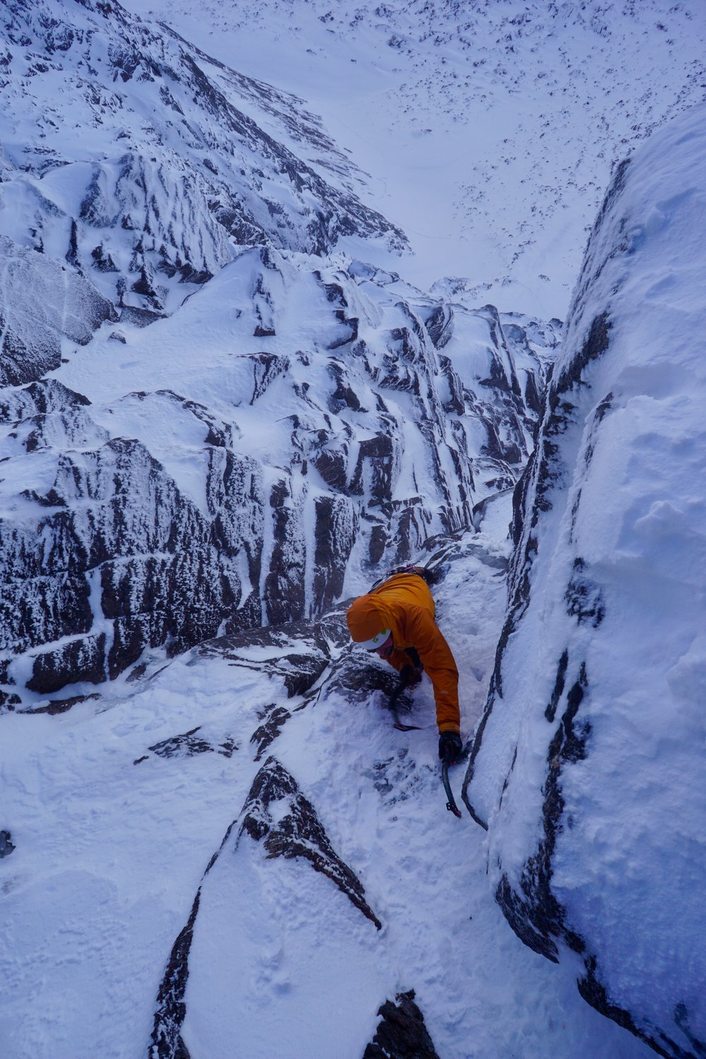 ben silvestre soloing the last pitch of Scorpion (V, 5), Carn Etchachan. Scotland