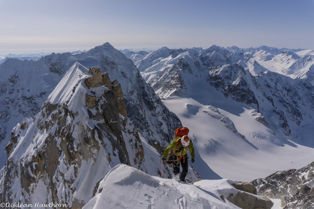 Tom on 'Fun or Fear' (ED2), Mt. Jezebel, Revelation Mountains, Alaska. First ascent. photo: Uisdean Hawthorn