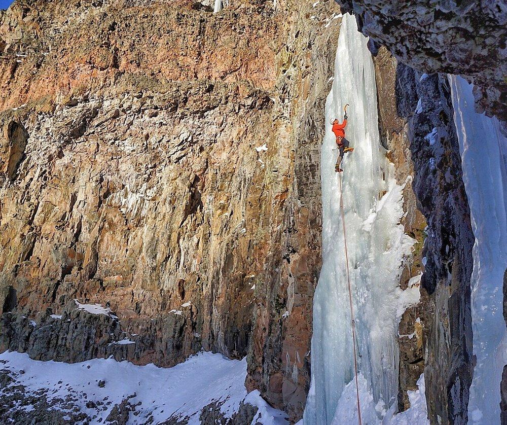 Nice ice on Responsible Family Man (Wi 5), Hyalite Canyon, Bozeman. Photo: Chantel Astorga