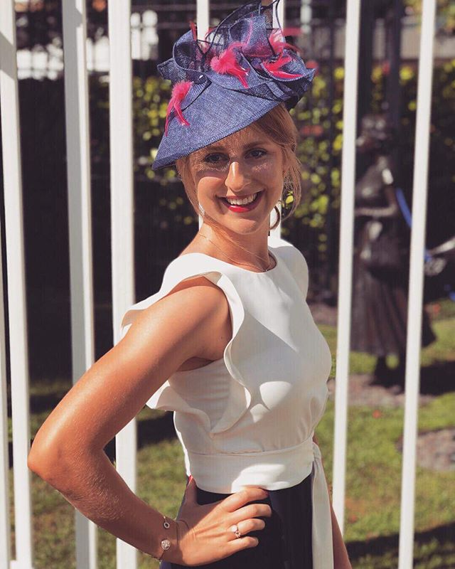 My beautiful friend Deb went to her first Royal Ascot last week and looked so stunning in this hat! 💕💕💕 . . .  #madeinbrooklyn #couturemillinery #madeinnyc #royalascot2018 #royalascot #ascot #fascinator #ascotfashion #derbyhats #millinery #custommillinery