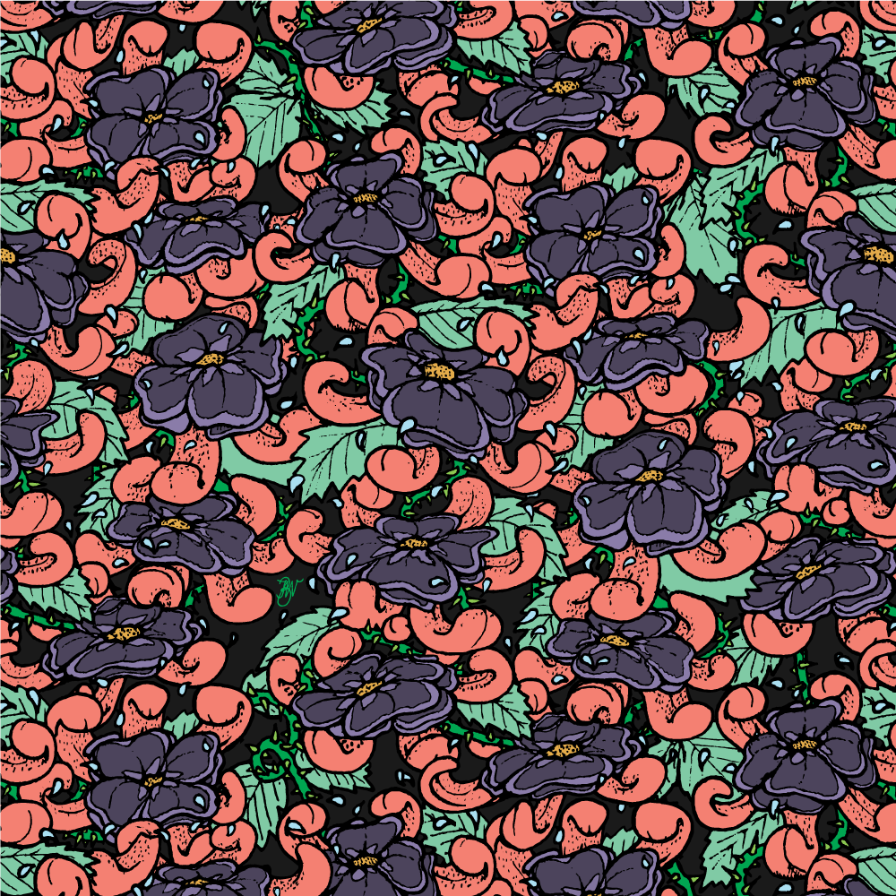 'Flowers & Tongues' repeat pattern