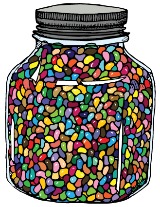 'How Many Jelly Beans?' sticker design