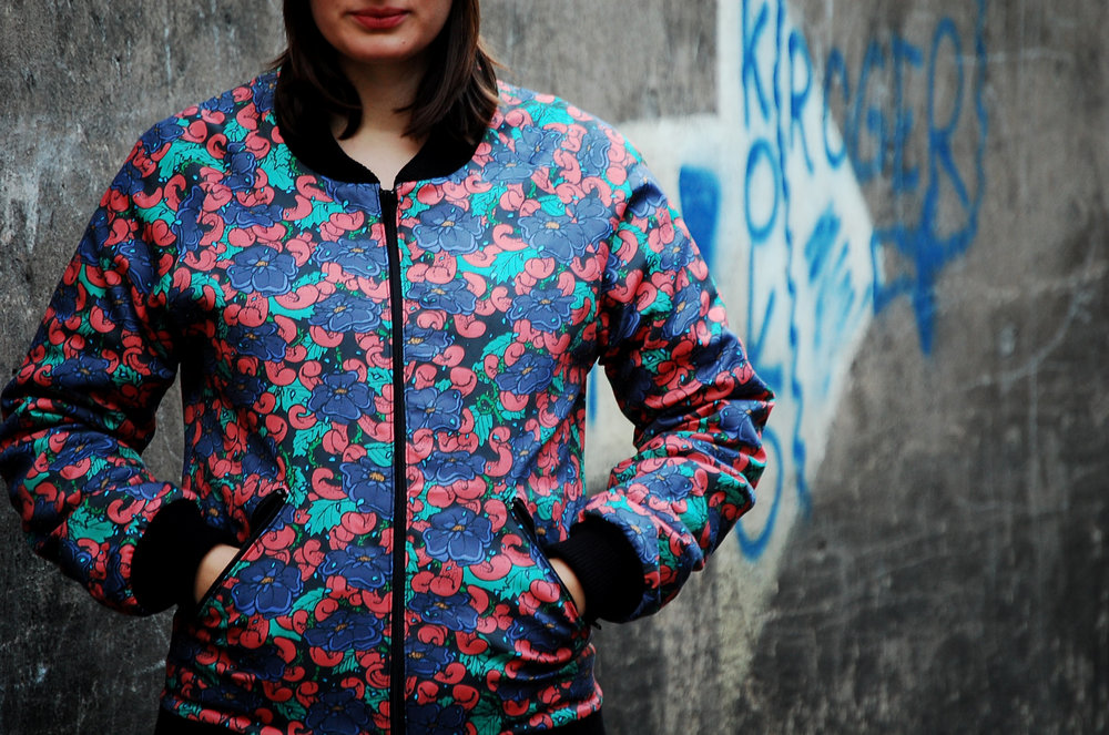 Flowers & Tongues bomber jacket