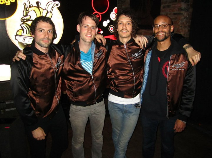 The Darwin Deez band fully jacketed, February 2011 (L-R: Miles, Andrew, Darwin, Greg)
