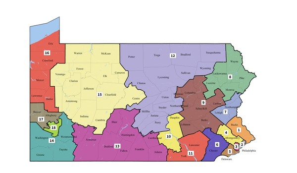 Pennsylvania's Congressional districts as redrawn by the PA Supreme Court on Feb. 19, 2018.