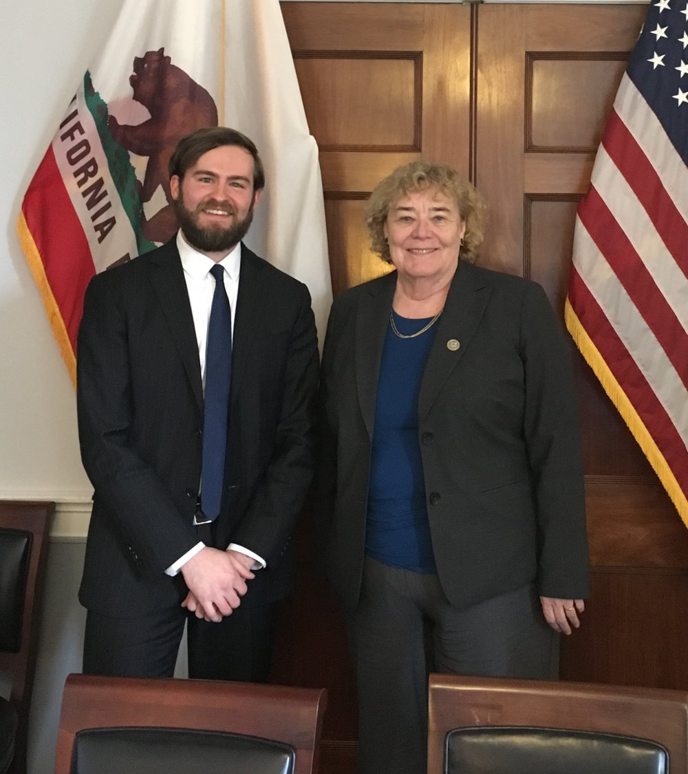 Nathan Musgrove, Executive Director, and Congresswoman Zoe Lofgren (CA-19) after a meeting on March 6, 2018.