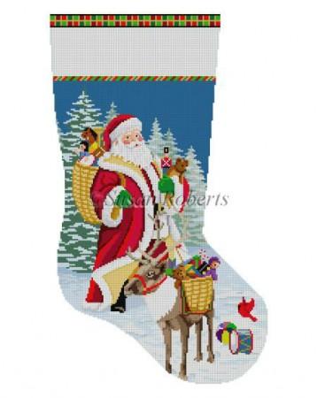 Santa, Reindeer, Basket of Toys Stocking SR0156.jpg