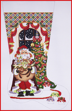 Santa, Toy Bag, Tree, Window, Diamonds Stocking CS 398.jpg