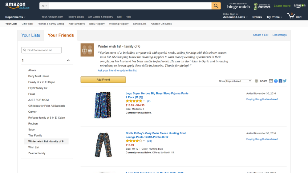 Click to view a sample wishlist on Amazon.