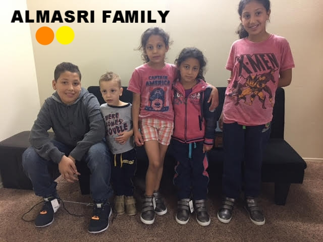 Almasri Family The Almasri family is a Syrian family of 7 (mom and dad, boy/14, girl/10, girl/8, girl/7, boy/2) who fled to Jordan and lived in refugee camp in poor conditions for 3 years before finally making it to the U.S. Their youngest son, who is 2.5-years-old, was born in a refugee camp. They have some essentials but would like to add some household items that are difficult for the family to afford in their current situation. The father was a baker in Syria and is currently looking for work in that field.