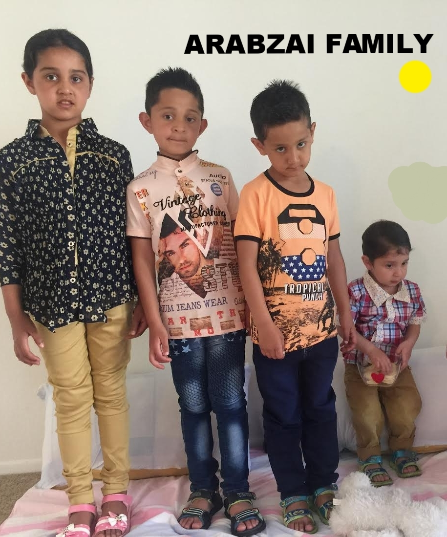 The Arabzai family are a large family who just arrived from Afghanistan on March 27, 2017. They have 4 children ages 8, 7, 6 and 2.The father is a BBA holder and was working with the US army in Afghanistan. He speaks English and is looking for employment. Their empty apartment needs to be furnished and they are in need of basic household items.