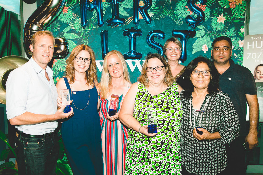 We did it! The Ana Huna award recipients. Awardees from left: Lee Kirk, Jenna Fischer, Christy Anderson, Suzanne Smith, Mahin Bazrafshan. Top row: Founder Miry Whitehill and Rafid Albawi, director of dispatch