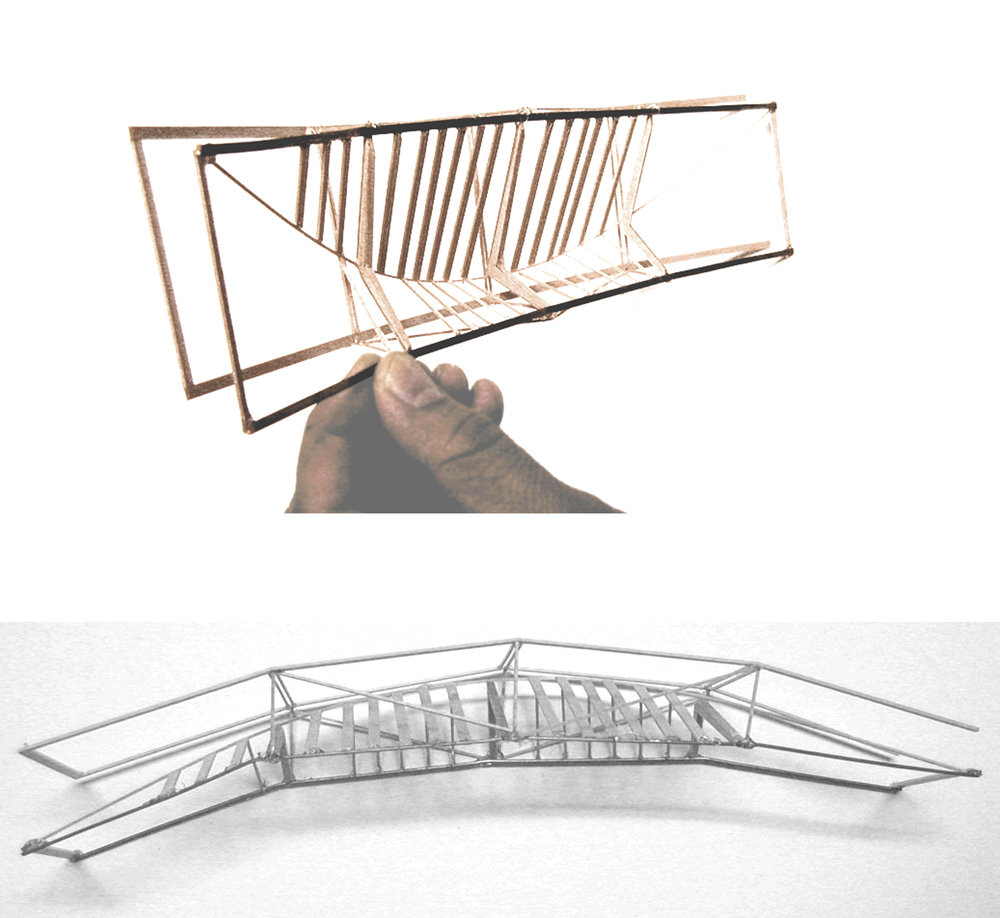 1:100 scale models of structure and glazing in concave arrangement