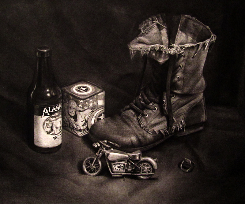 "Still Life ""Self Portrait"" With Boot and Motorcycle"