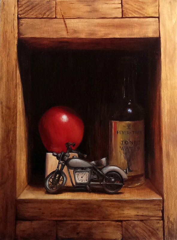 "Trompe-l'œil ""Family Portrait"" With Apple, Bottle and Motorcycle"