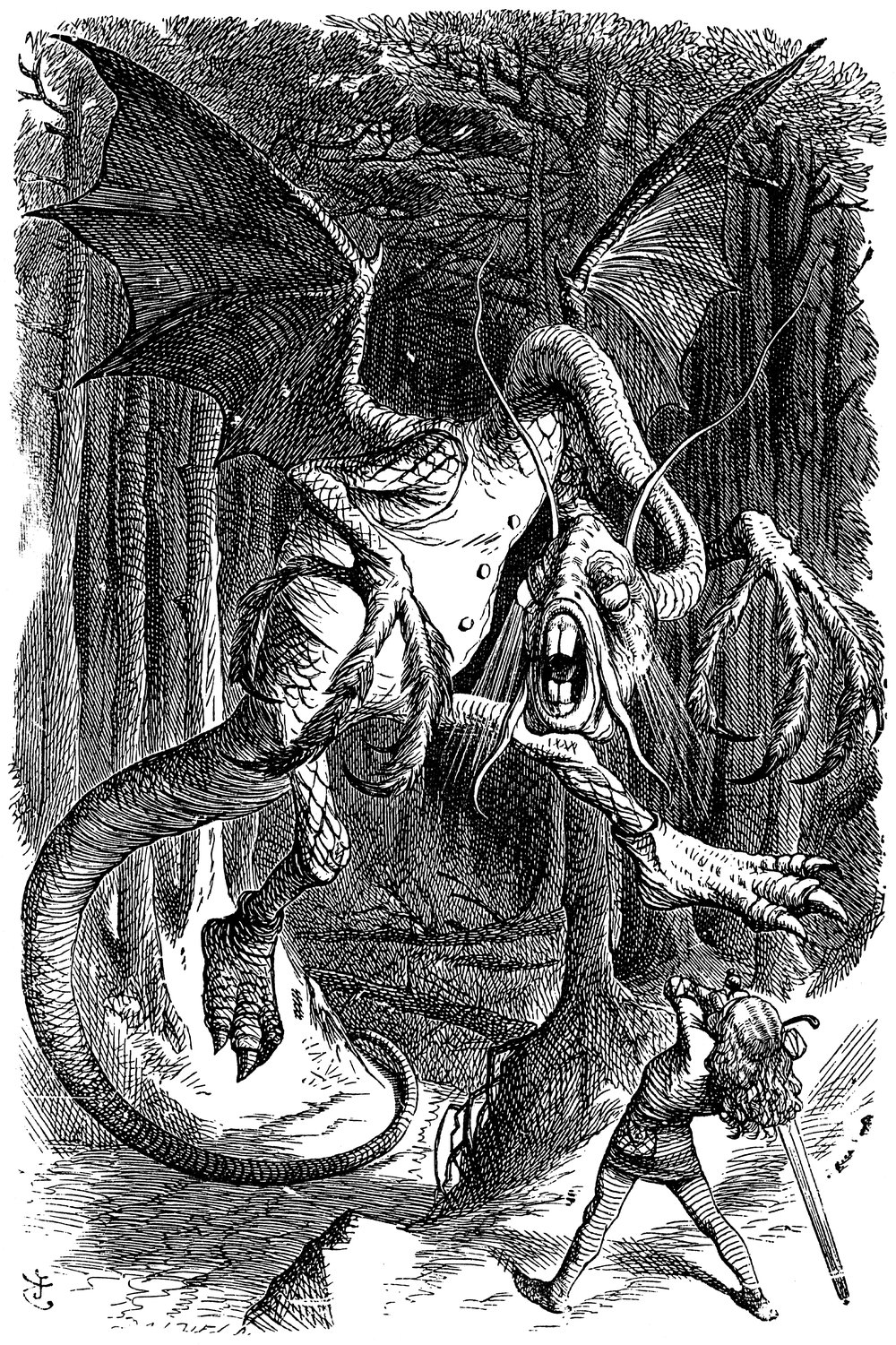 The Jabberwocky, as illustrated by Sir John Tenniel.