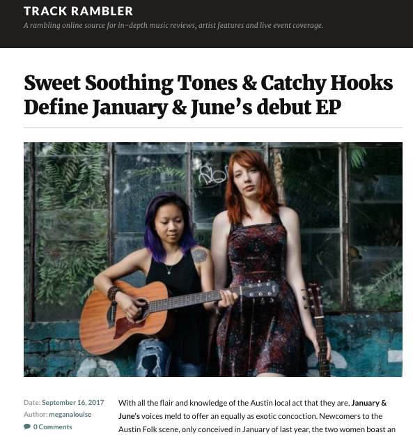 Sweet Soothing Tones & Catchy Hooks Define January & June's debut EP - Read full article on TrackRambler.com