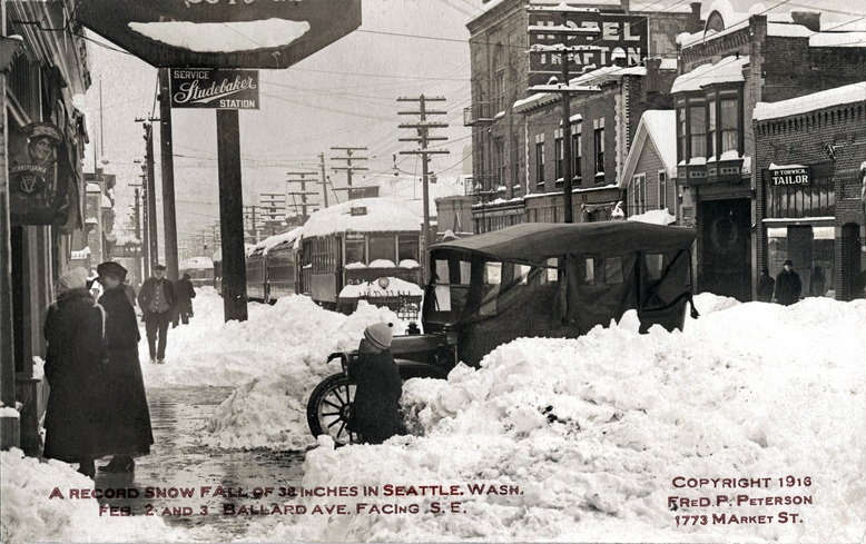 Early Ballard Avenue Weather-related gridlock circa 1916 taken near the Fishermen's Building