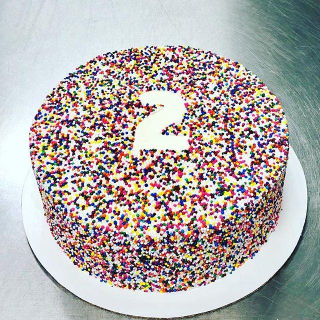 #cakeachance #miramichi #cake #custom #2 #2ndbirthday #sprinkles #rainbowsprinkles #smarties #smartiesinside #fun #colorful #cakedecorating