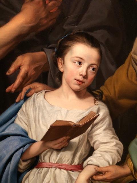 """Detail uit het schilderij """"De opvoeding van Maria"""" door Michaelina Wautier. Gezien in het MAS in het kader van de expo """"Michaelina, de leading lady van de barok."""""""
