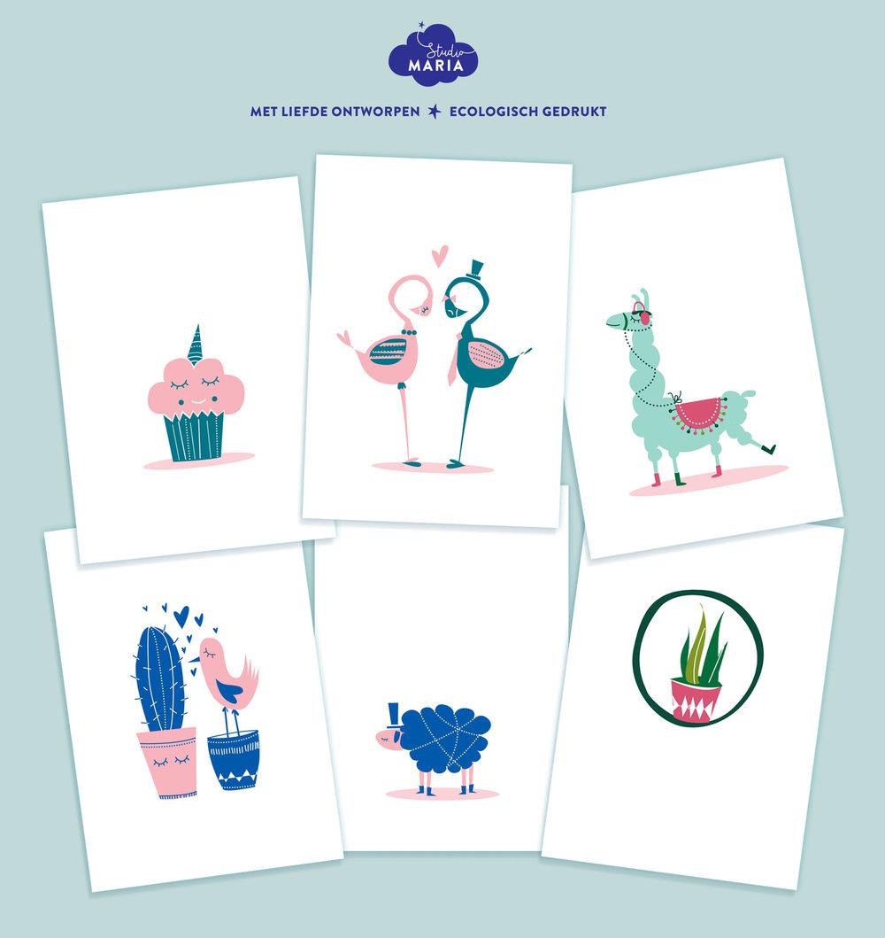 set postkaarten Studio Maria