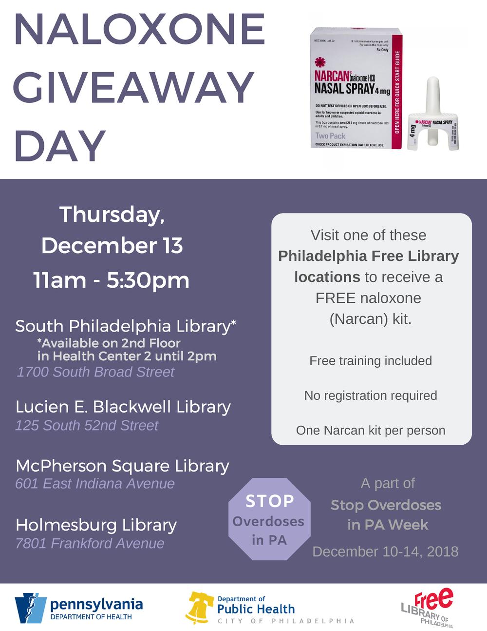 NALOXONE GIVEAWAYDAY - Thursday, December 13th11:00am - 5:30pm