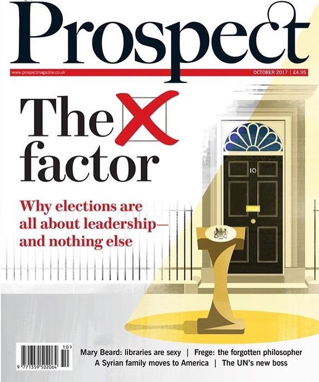 Cover illustration for the October issue of @prospect_magazine. Super pleased to be involved with this excellent magazine. . . . #illustration #illustrator #instaart #instaartist #magazine #editorial #cover #politics #uk #spotlight #yellow #black #drawing #happy #leadership
