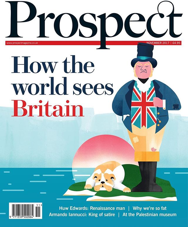 Cover #illustration for @prospect_magazine s November issue. All about Brexit and how Britain is viewed from abroad. Out now and a good read.⠀⠀ .⠀⠀ .⠀⠀ .⠀⠀ .⠀⠀ #art #johnbull #politics #brexit #uk #currentaffairs #island #EU #europe #bulldog #dog #sea #sunset #instaart #instaartist #editorial #westminster #digital #sunset #pink #blue #magazine #britain
