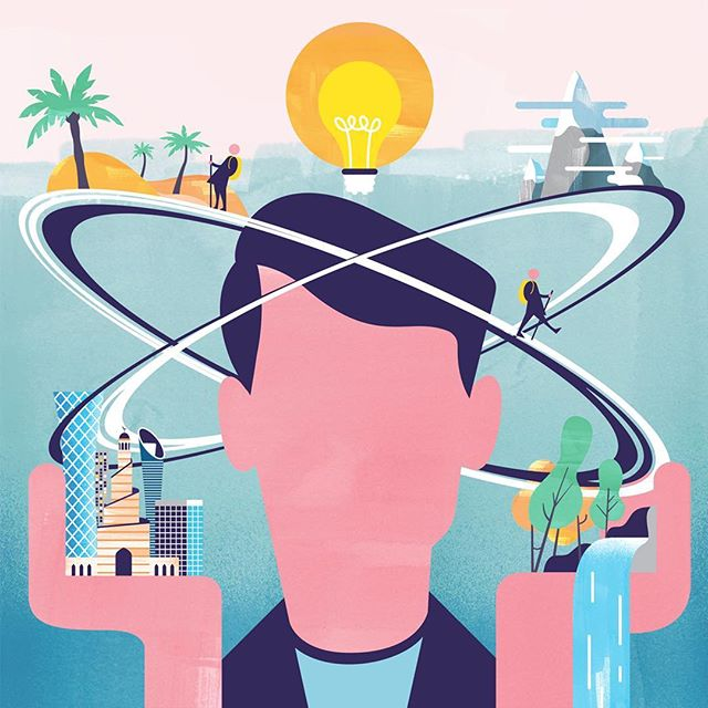 Illustration for the November issue of Oryx magazine on how walking from destination to destination encourages the mind to open.⠀ .⠀ .⠀ .⠀ .⠀ .⠀ .⠀ #travel #ideas #mountains #cities #waterfall #walking #texture #illustration #instagood #instaartist #instaart #graphic #art  #wip #artwork #digitalart #digital #artist #illustrator #design #draw #creative #adobe #wacom #shapes #colour